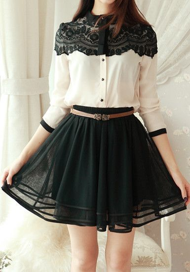 Tiered Mini Skirt  in  Black. Little playful :):