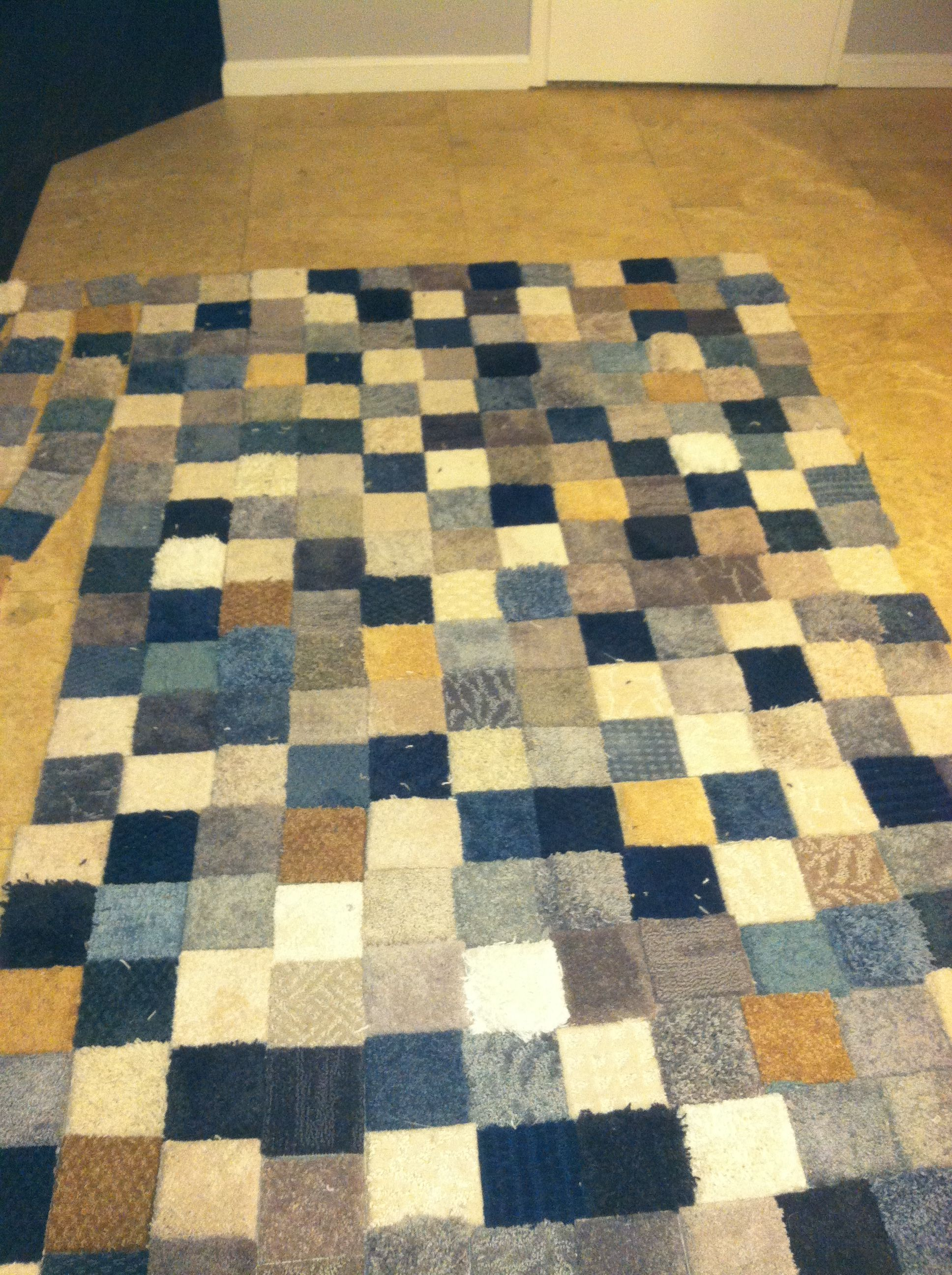 Patchwork Rug Made From Free Carpet Samples And Gorilla Tape Diy Rug Diy Carpet Carpet Square Rugs