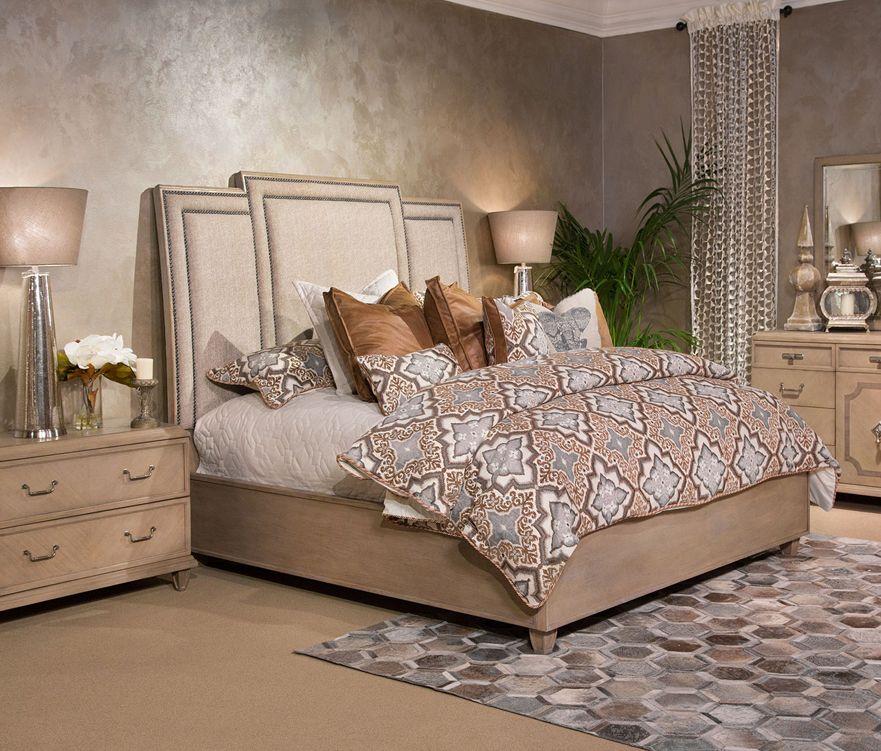 Michael Amini Porter Luxury Bedding Set Furniture, Bed