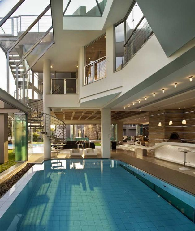 glass homes modern open plan glass house pool Architecture