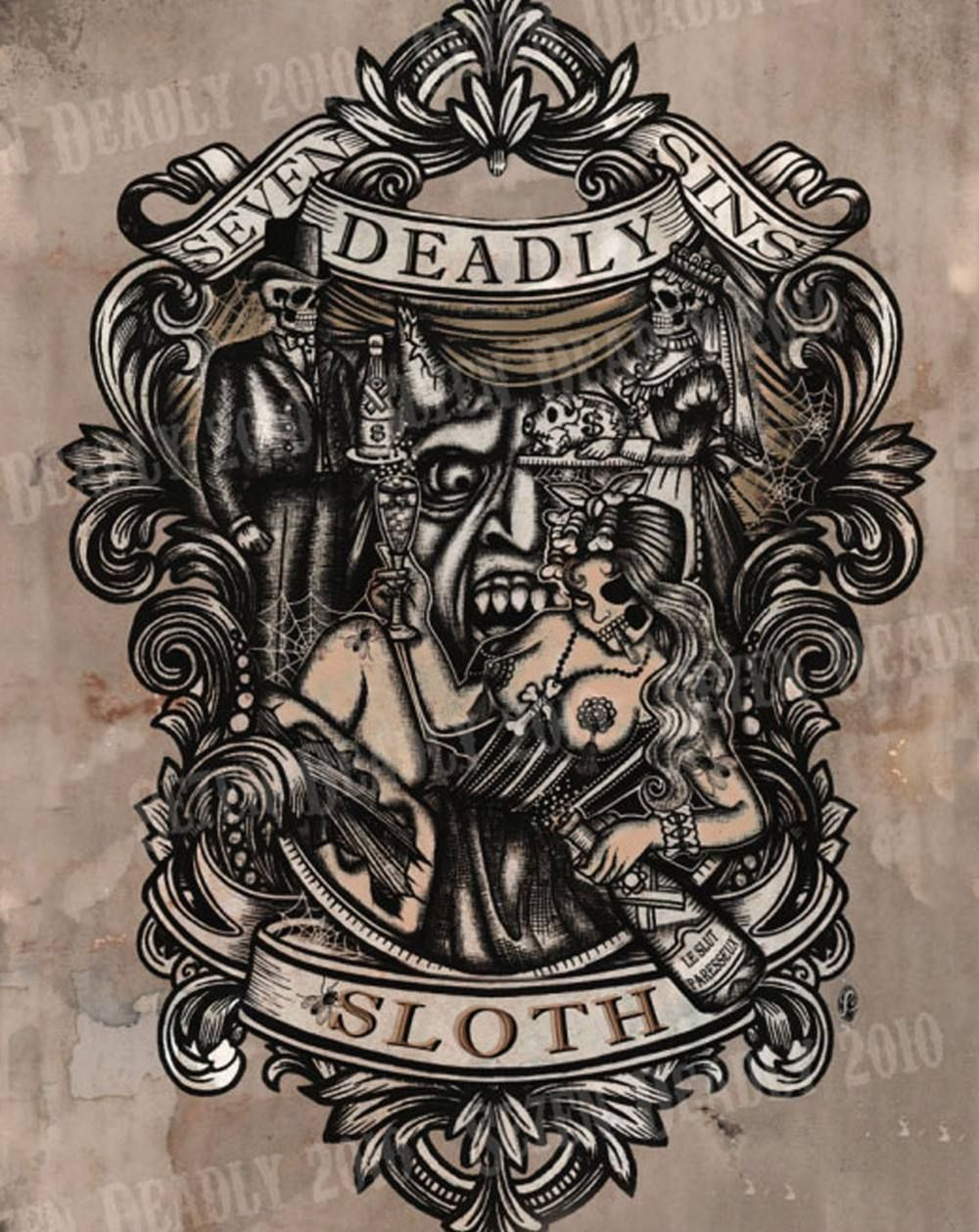 Se7en deadly deadly sloth print 11x14 random things i for Seven sins tattoo