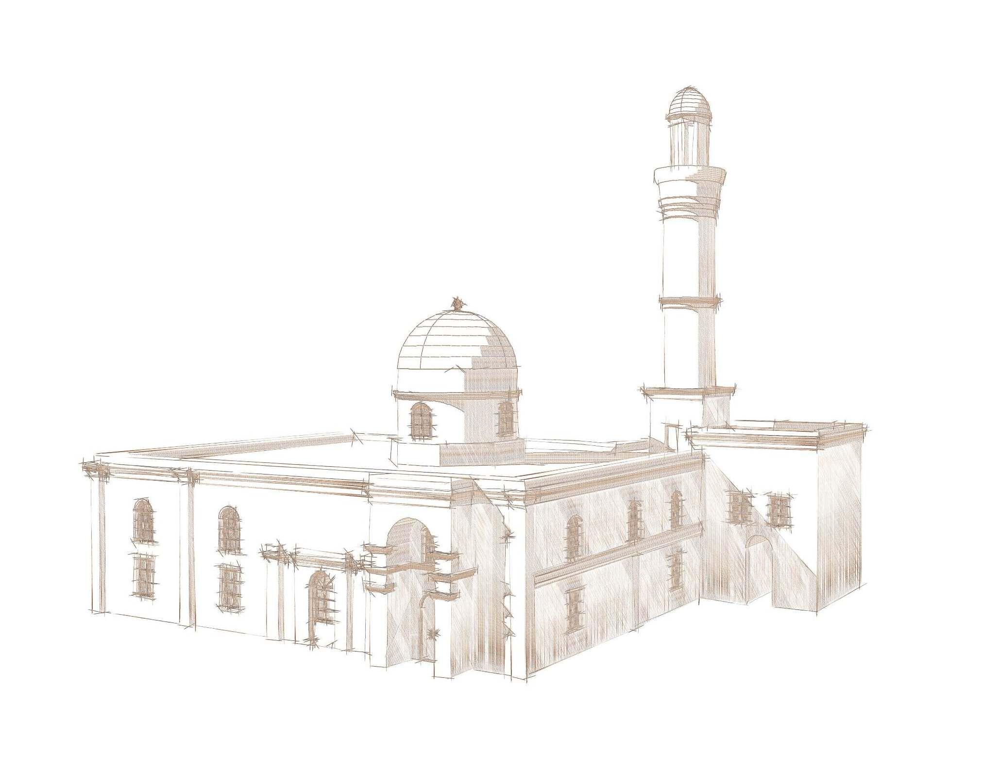 Курсовая работа по реставрации Эскиз Ага мечети в Нардаране после  Курсовая работа по реставрации Эскиз Ага мечети в Нардаране после реставрации