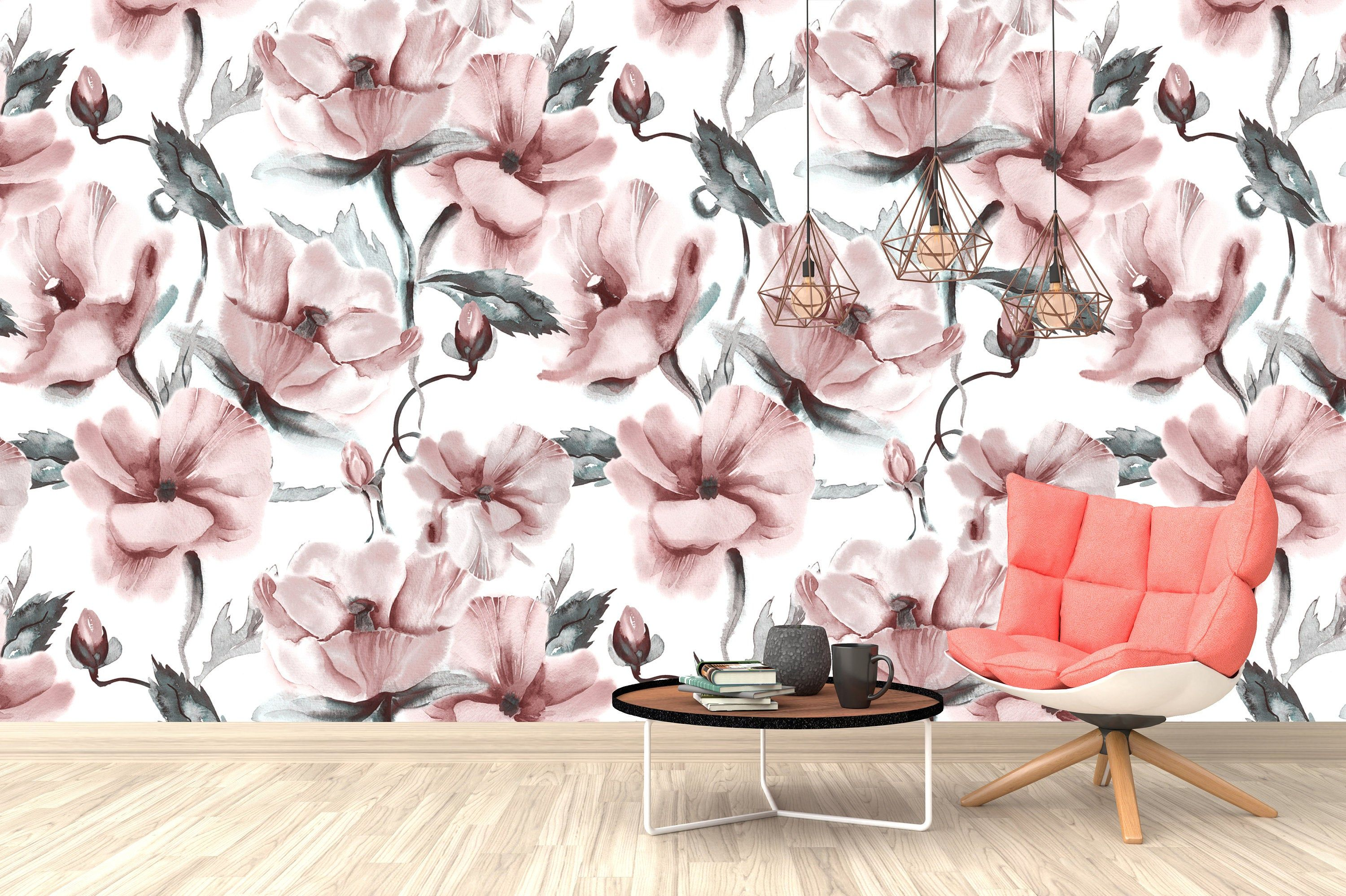 Pink Roses Flowers Floral Wallpaper Self Adhesive Peel Stick Wall Sticker Wall Decoration Minimalistic Scandinavian Design Removable Dark Red Roses Peel And Stick Wallpaper Red Roses Wallpaper