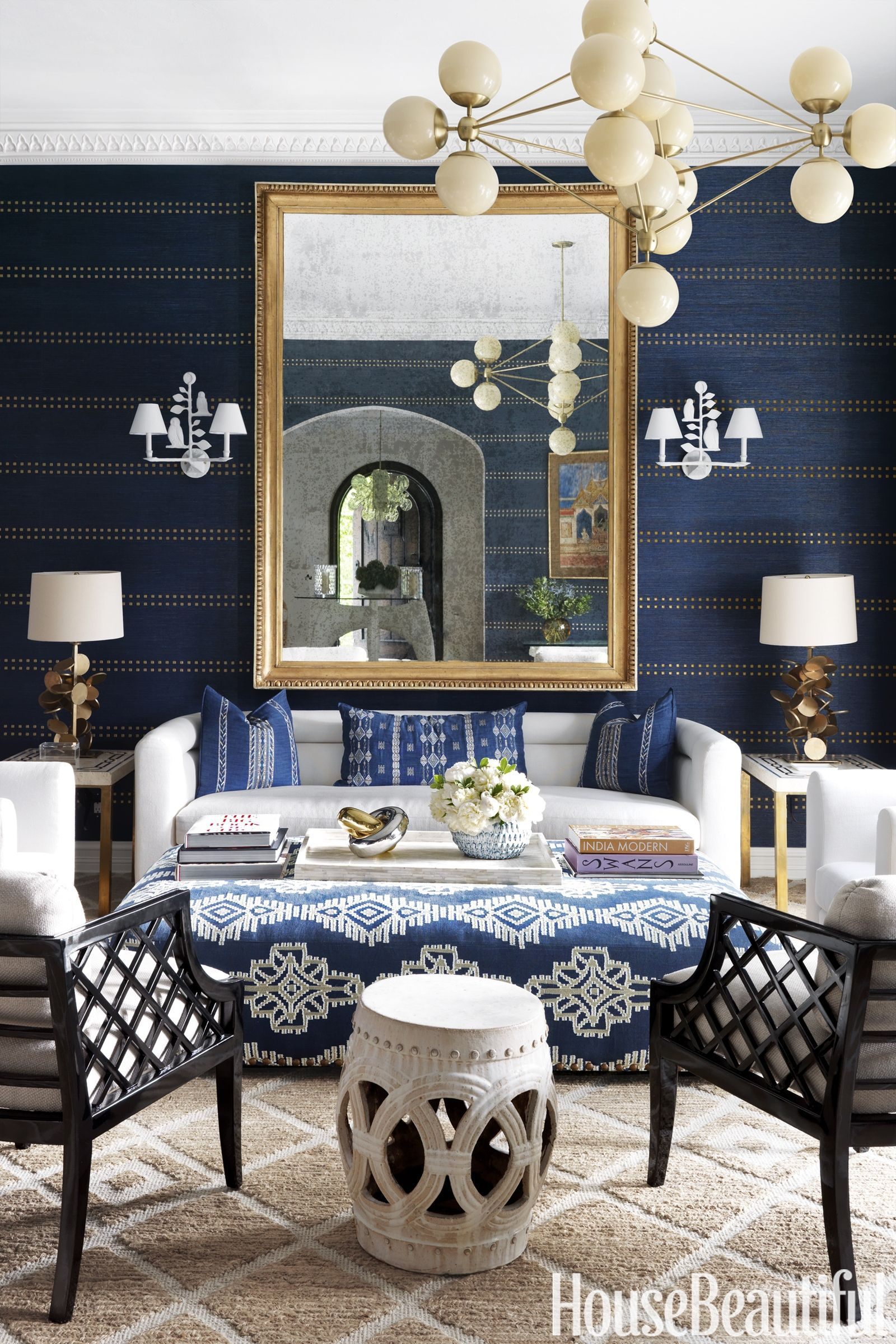 Traditional Blue And White Step Out Of Their Comfort Zone In West Palm Beach Home Living Room Family Room Blue Rooms