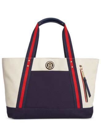 TOMMY HILFIGER Tommy Hilfiger Th Striped Web Handle Canvas Tote. #tommyhilfiger #bags #canvas #tote #leather #denim #hand bags #cotton #
