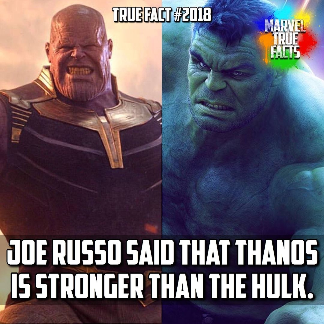 Well He Is One Of The Only Beings In The Universe That Thanos Actively Avoids Fighting With Superhero Facts Marvel And Dc Superheroes Marvel Memes