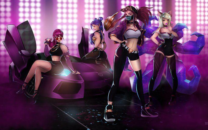 Wallpaper Ahri Akali Evelynn And Kaisa League Of Legends Girls Desenho Feminino League Of Legends Bambi