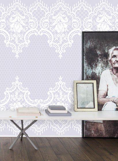 Encaje Vintage Papel Pintado Pared Damasco Floral Blanca Purpura