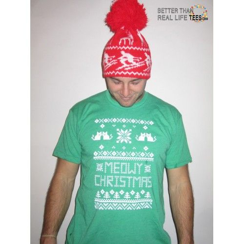 Men's Meowy Christmas Ugly Sweater T-Shirt  funny ugly christmas holiday cat kitten tacky fugly humor crazy tee shirt - better than real life tees #betterthanreallifetees