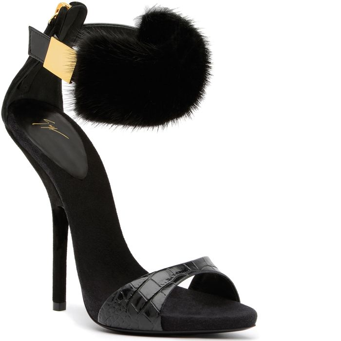 273ab14cec35 Giuseppe-Zanotti-Fall-2013-Collection  Fur ankle-cuff sandal with black  suede insole