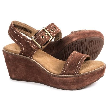 1fabe3419718 Clarks Aisley Orchid Wedge Sandals - Suede (For Women) in Dark Tan Suede