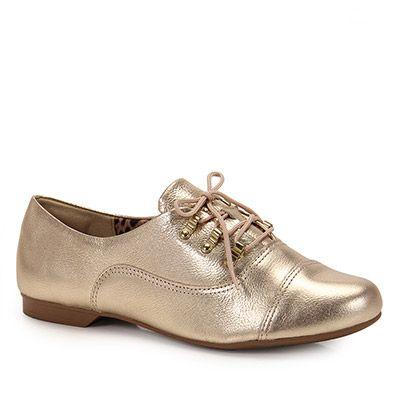 cb9766ae8 Sapato Oxford Feminino Dakota - Dourado(A) - Passarela.com | Shoes ...