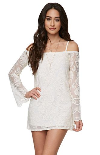206d52c32a5117 The Off Shoulder Bell Sleeve Lace Dress by LA Hearts for PacSun and  PacSun.com offers a chic lace construction and sheer sleeves.