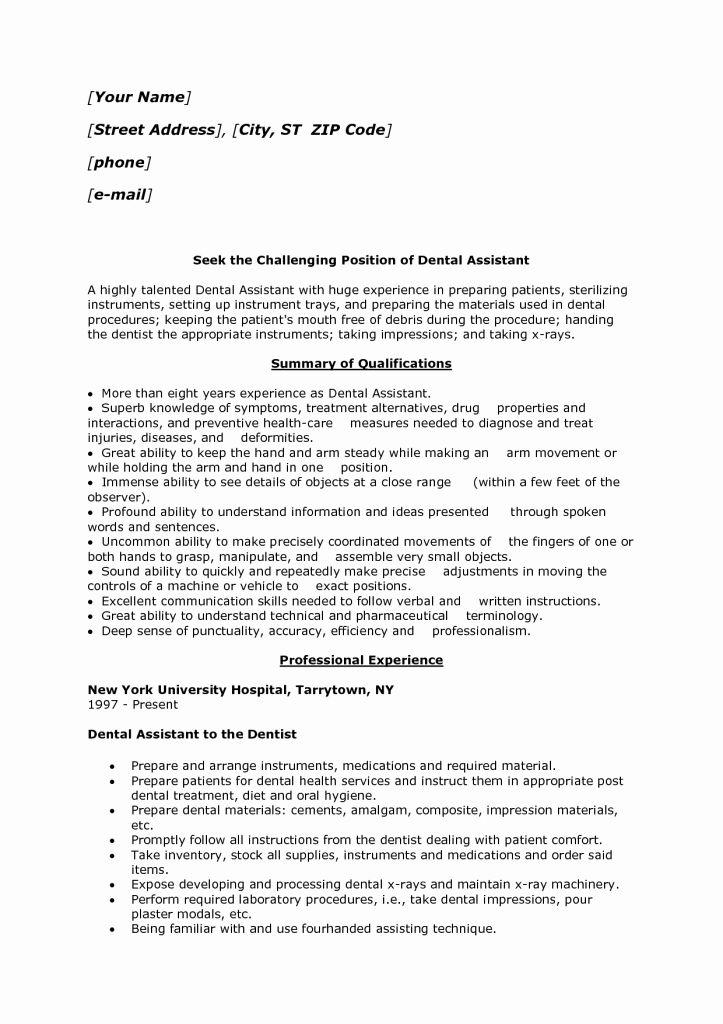 Dental assisting Resume Templates Unique Dental assistant