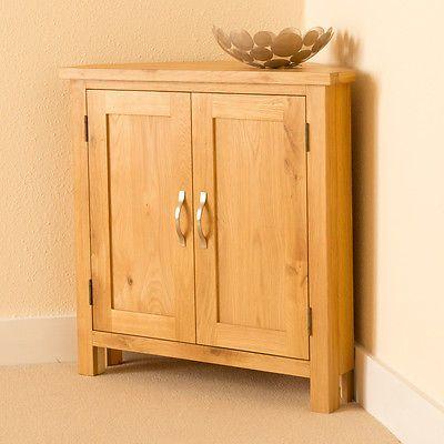 Newlyn Oak Corner Cupboard Hand Crafted Modern Small Light In Home Furniture Diy Cabinets Cupboards Ebay