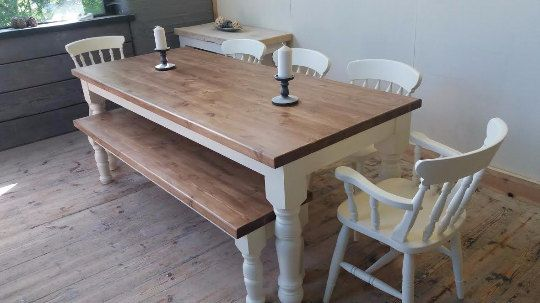 Bespoke Solid Farmhouse 8 To 10 Seater Table With Stunning Natural  Reclaimed Timber Top. Previously