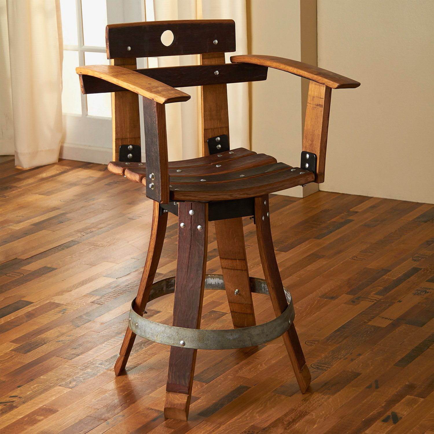 Unique Bar Tables: Barrel Stave Sommelier Chair With Swivel Seat