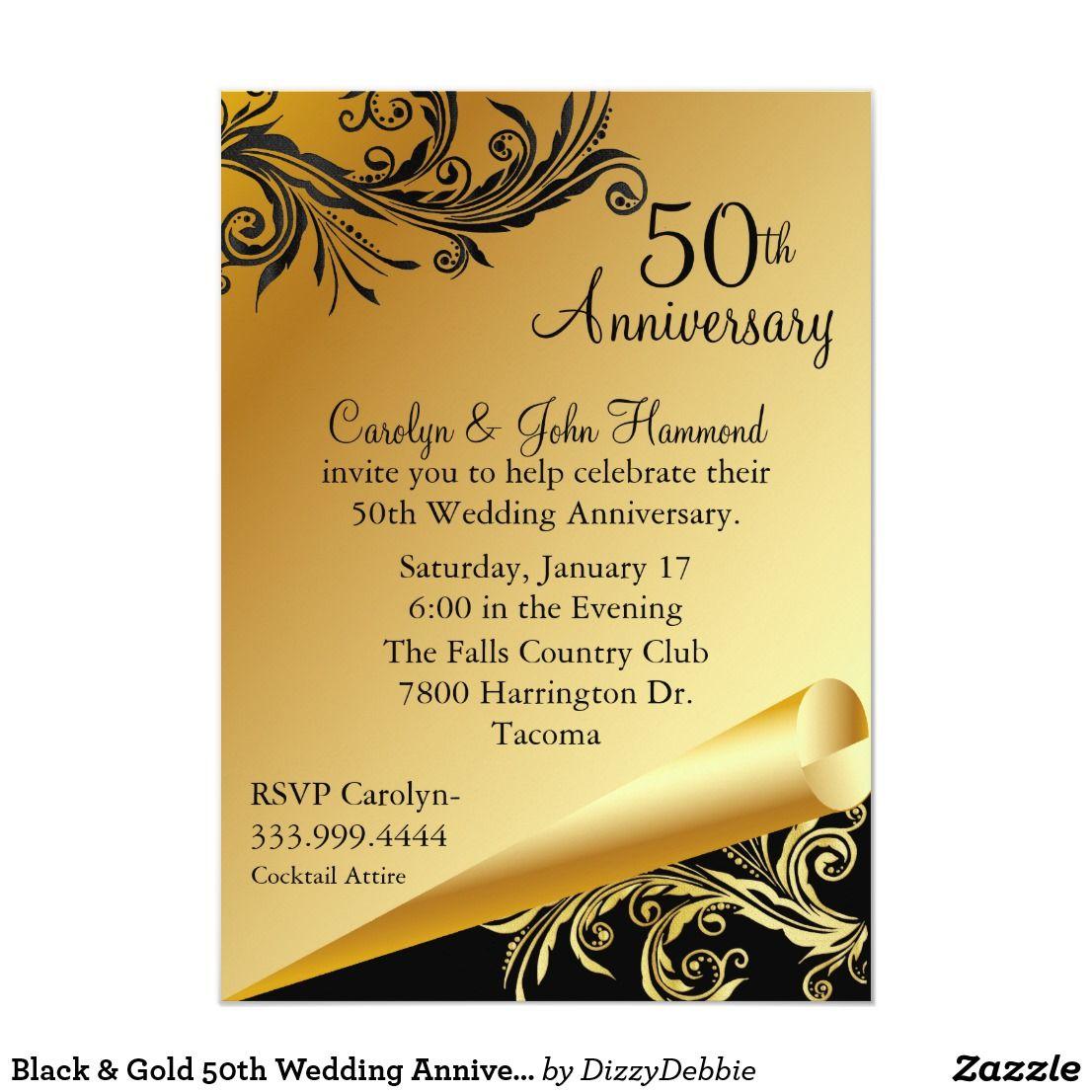 Black Gold 50th Wedding Anniversary Invitation Zazzle Com 50th Wedding Anniversary Invitations 50th Wedding Anniversary Wedding Anniversary Invitations