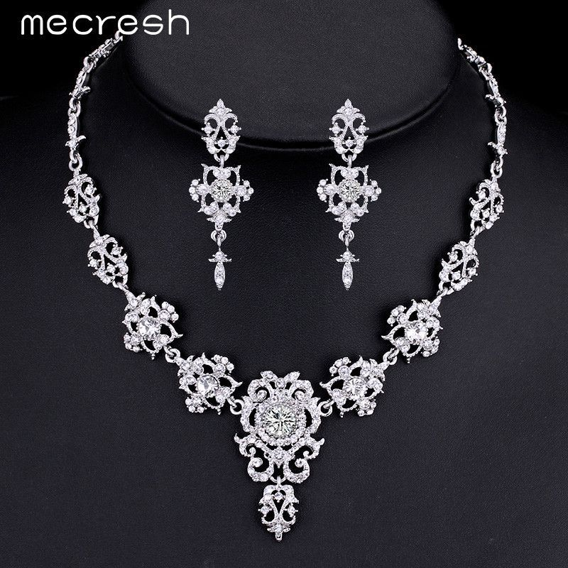 Mecresh Gorgeous Silver Plated Wedding Jewelry Sets for Brides