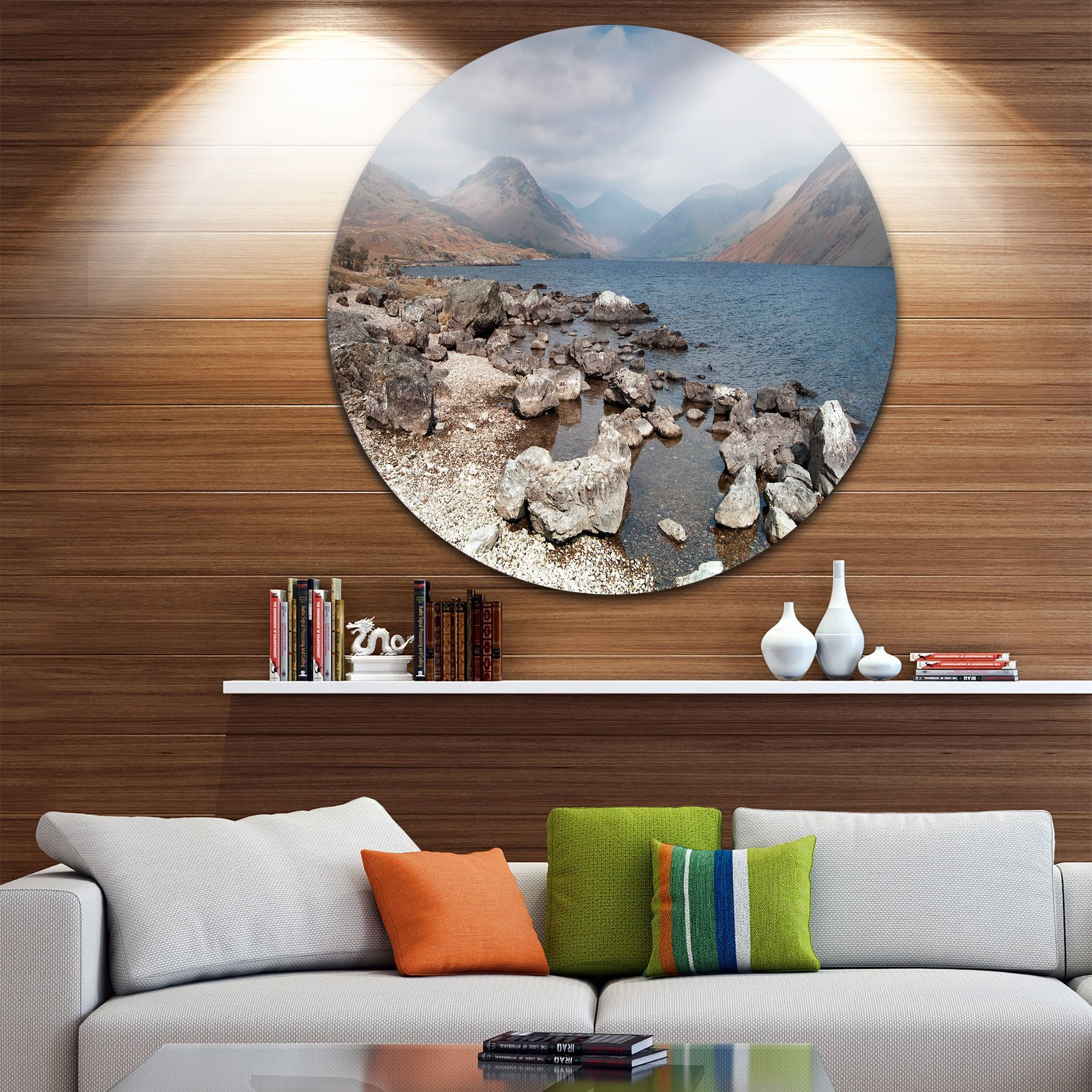 Designart 'Rocky Wast Water in Lake District' Landscape Circle Wall Art