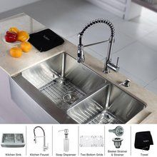 "View the Kraus KHF203-33-KPF1612-KSD30 32-7/8"" Farmhouse 60/40 Double Bowl 16 Gauge Stainless Steel Kitchen Sink with Pre-Rinse Kitchen Faucet and Soap Dispenser at FaucetDirect.com."