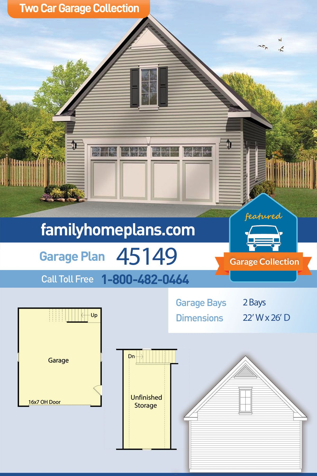 2 Car Garage Plan Number 45149 Garage Plan Garage Exterior Garage Building Plans