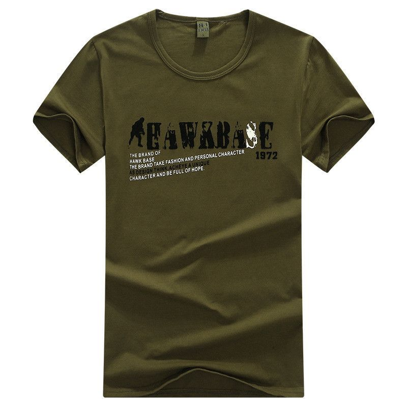 Outdoor New Summer Camping Hiking T-shirt Men Army Green Cotton Short Sleeved Tight Clothing Leisure Military Training T-shirt