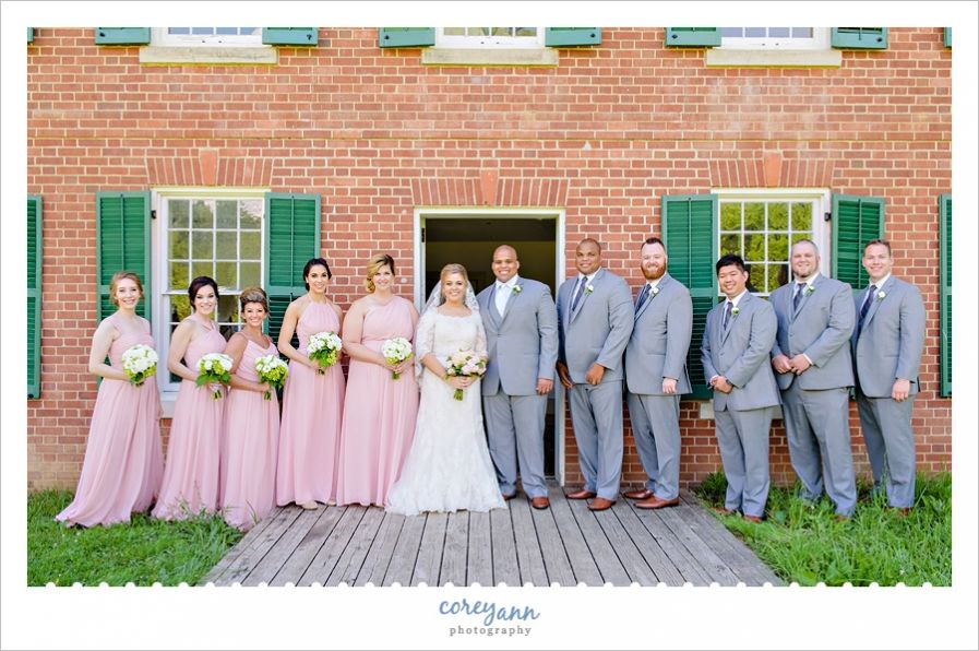 wedding picture locations akron ohio%0A Pink and Grey Bridal Party at Hale Farm and Village