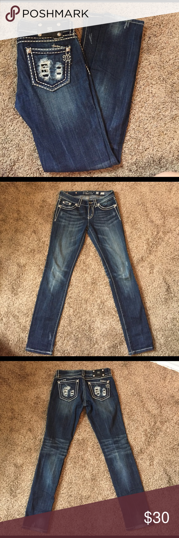 Miss me skinny jeans size dark blue colour jeans size and