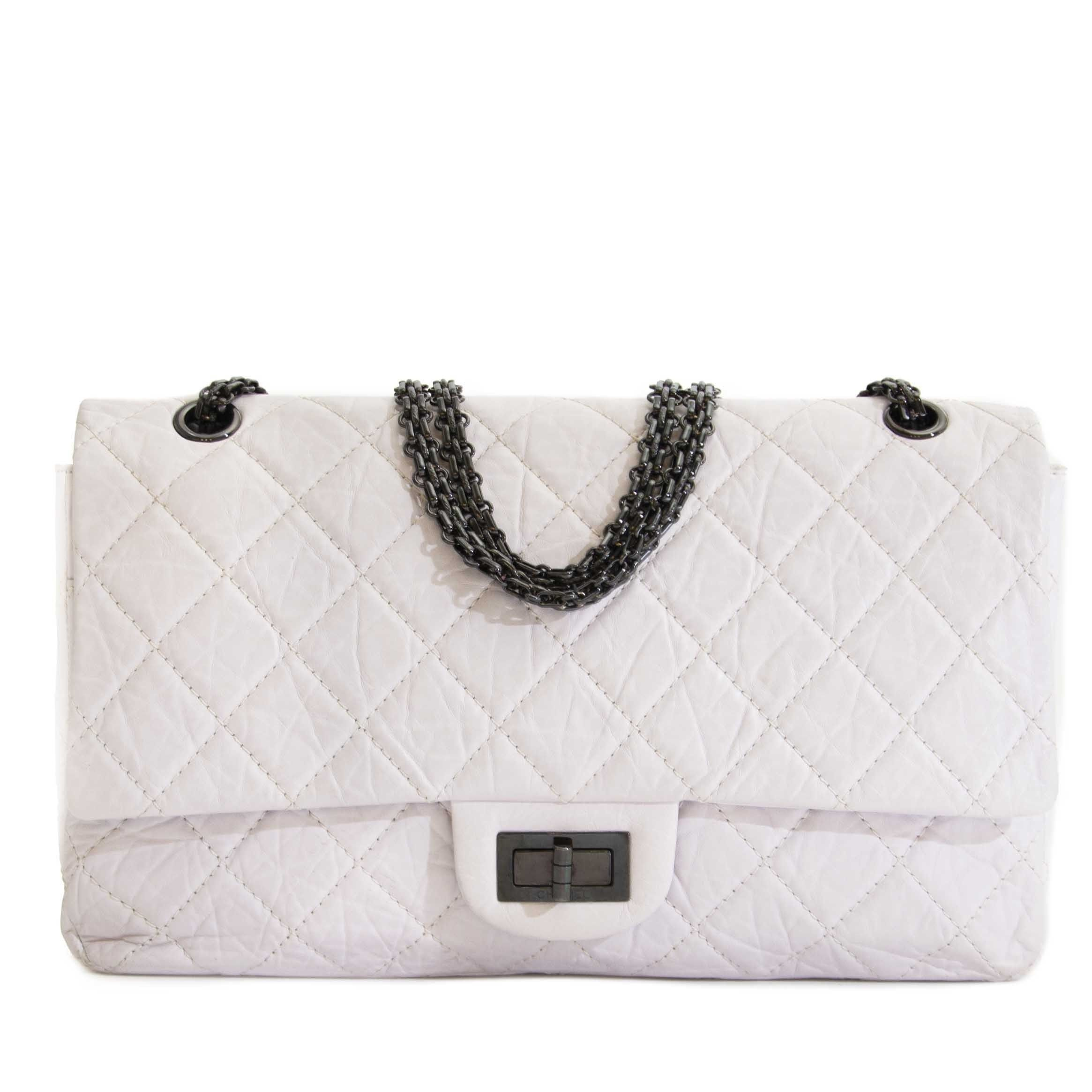 1973c94b Chanel White Aged Calfskin 2.55 Reissue 227 Flapbag | We LOV Chanel ...