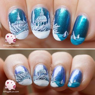Ice City Nail Art With Images Winter Nail Art Winter Nails Acrylic City Nails