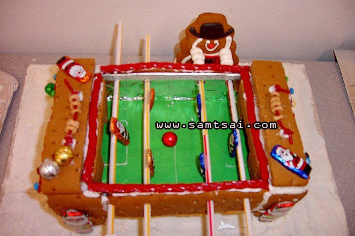 Great Creative Gingerbread House Ideas: Cowboy Gingerbread Man Playing Foosball |  SAM TSAI . COM