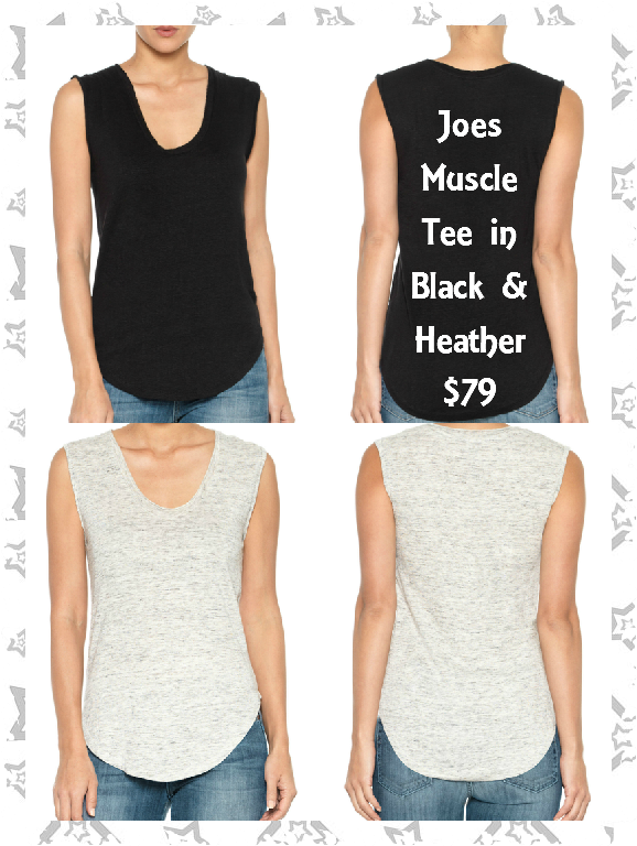 Joes Jeans Muscle Tee in Black and Grey:  Joe's Muscle Tee is 100% linen and inspired by athletic cuts. This sleeveless tee features a scoop neckline and curved hem for a flattering fit in a sexy shape. 100% LINEN  Available sizes XS-L