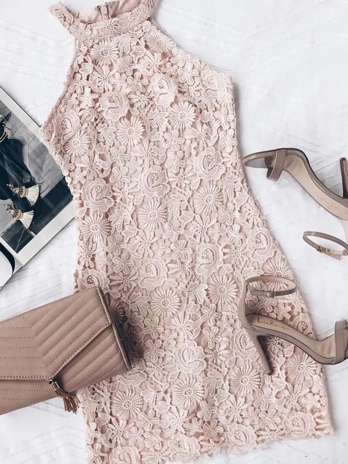 Love poem blush pink lace dress clothes fashion and fancy for Wedding guest dress blush pink