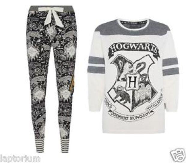 FREE NEXT-DAY Official HARRY POTTER Hogwarts PJ Nightdress PYJAMA White T-Shirt