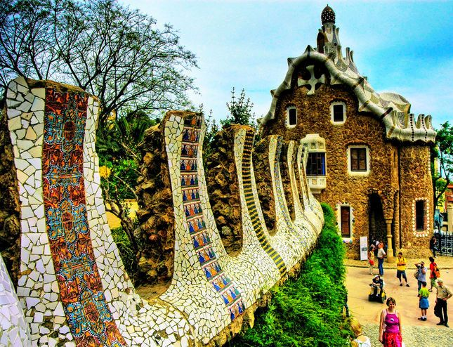 Parc Guell Barcelona Spain Gaudi Is A Mystifying Architectural Force In This