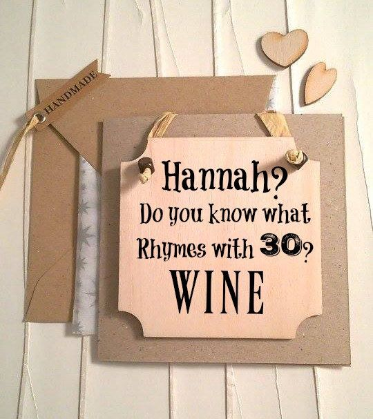 Personalised Funny 30th Birthday Card Handmade Wine By BettyRobbin