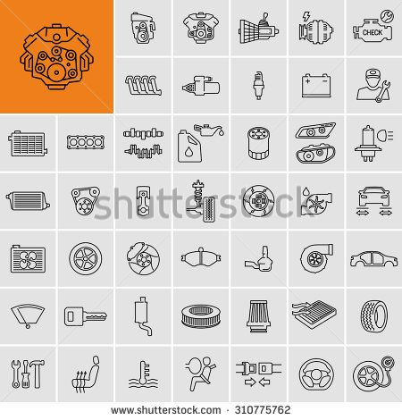 Vector Car Parts Set Outline Icons Stock Vector Car Tattoos