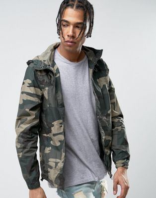 de4684f2e471f Pull&Bear Zip Through Hooded Jacket In Khaki Camo | CASUAL MEN'S ...