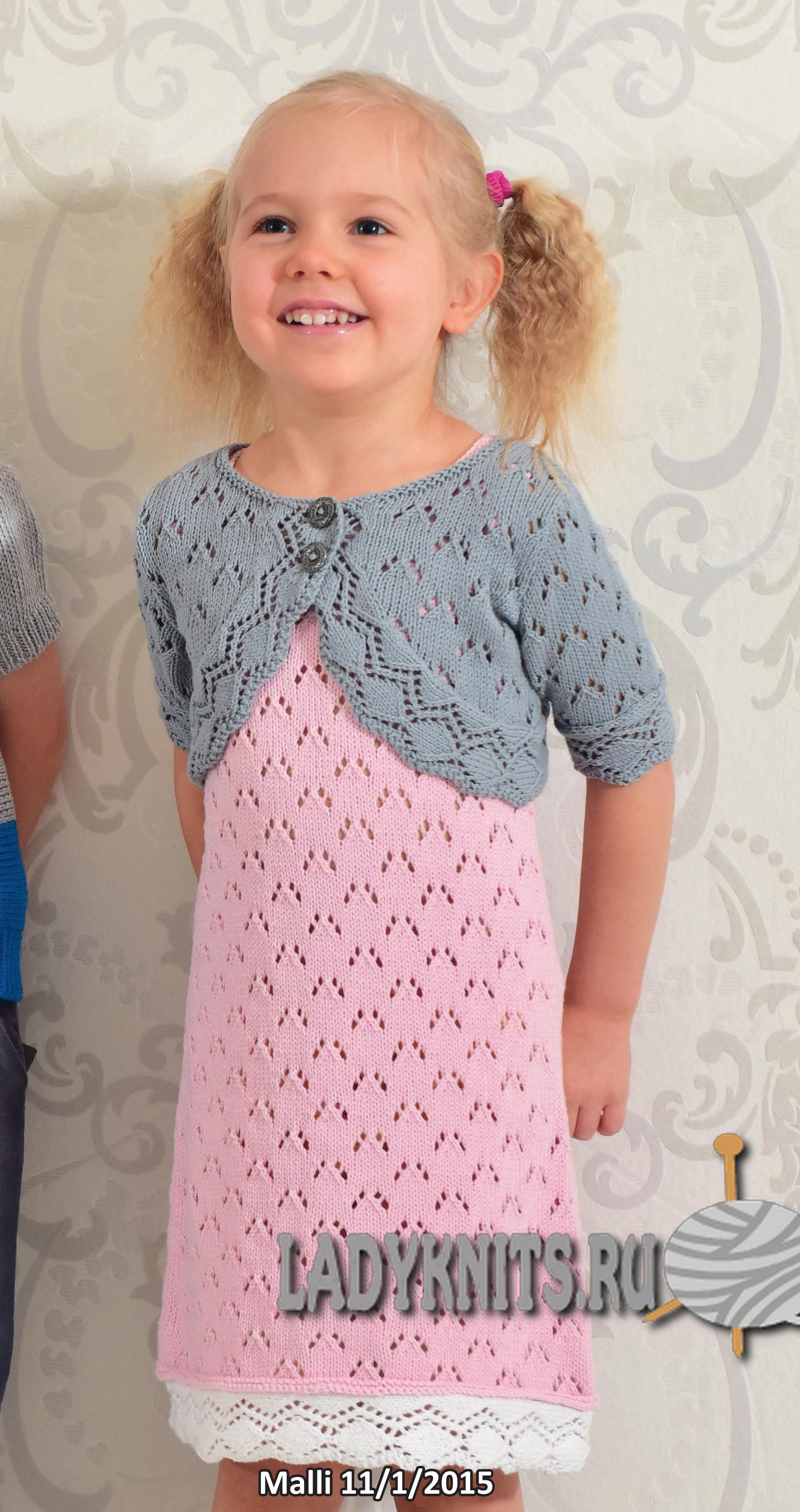 вязаное спицами ажурное платье для девочки Dzianina I Wzory