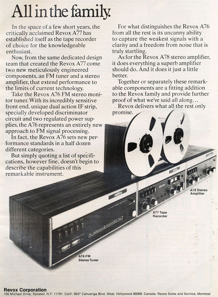 1972 Ad For Revox A77 Reel To Reel Tape Recorder  The