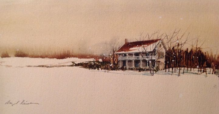 Snow in Blenheim - Raymond L. Reid - Paintings & Prints Landscapes & Nature… | ArtPal thumbnail