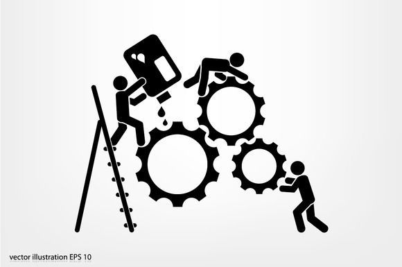 Great gears people icon vector CreativeWork247 - Fonts, Graphics, Themes, Templates...