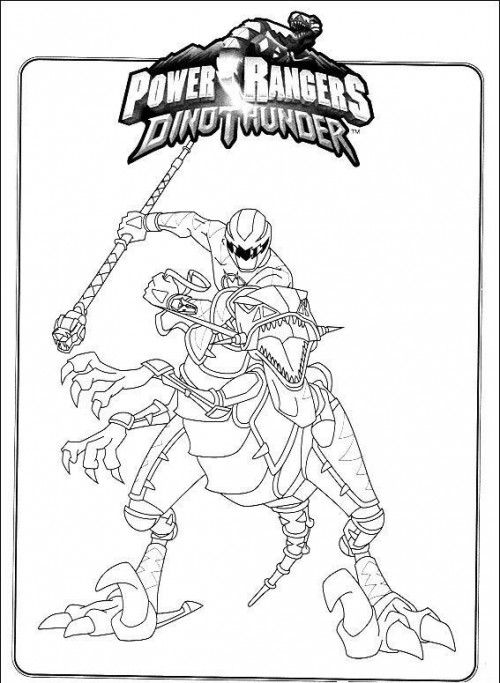 Power Rangers Dino Thunder Riding Robot Coloring Page