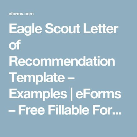 Eagle Scout Letter Of Recommendation Template  Examples  Eforms