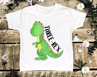 Three Rex Birthday Shirt Year Old Dino 3