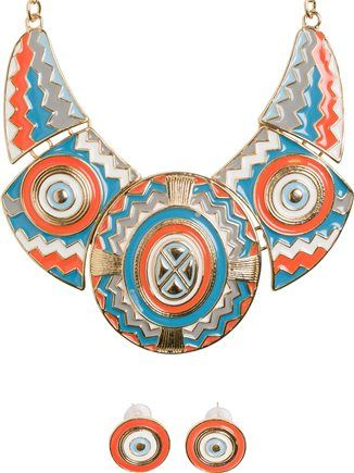 Aztec style statement necklace. http://www.swell.com/New-Arrivals-Womens/BRIGHT-AZTEC-NECKLACE-AND-EARRING-SET?cs=GO
