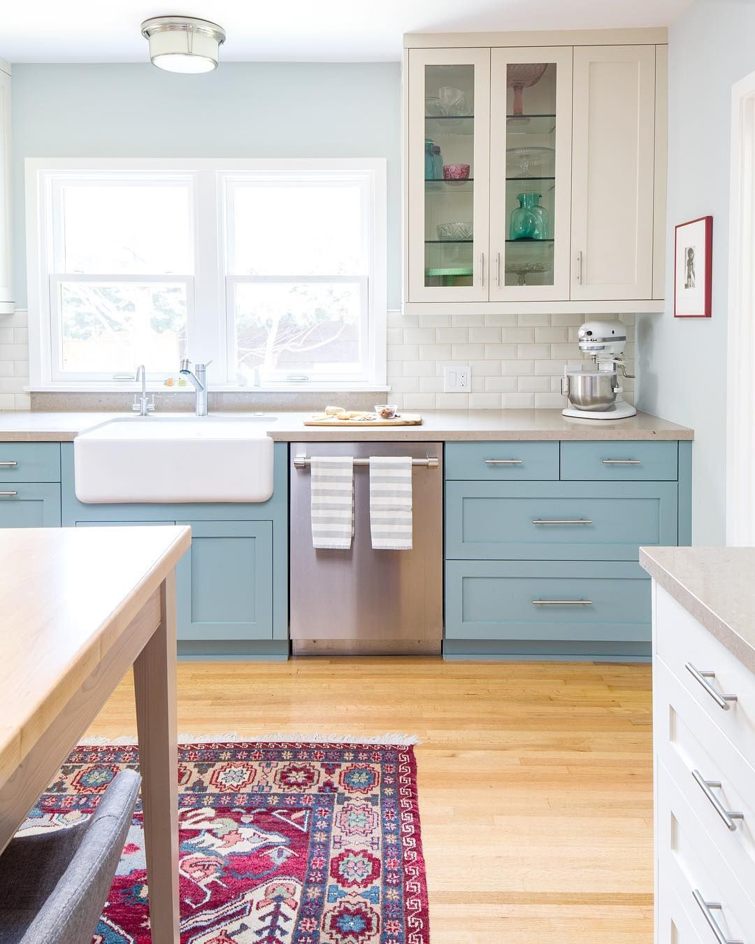 Blue And White Kitchen Decor Robin S Egg Blue Lower Cabinets Cream Uppers And Boho Colorful Rug In Cont Small Kitchen Plans Kitchen Remodel All White Kitchen