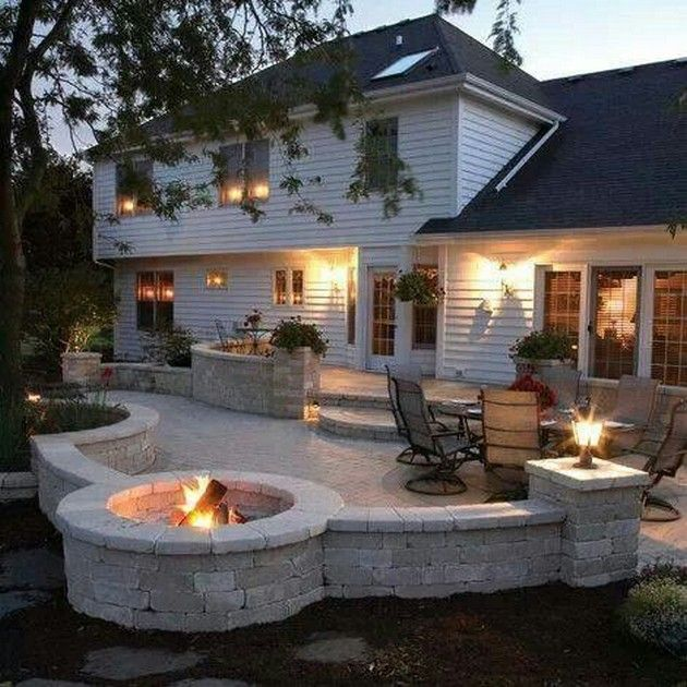 Bon Back Yard Idea. Love The Patio With The Built In Fire Pit.maybe Build A  Matching Stone Bench Around The Fire Pit.
