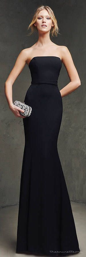 Designer long black dress